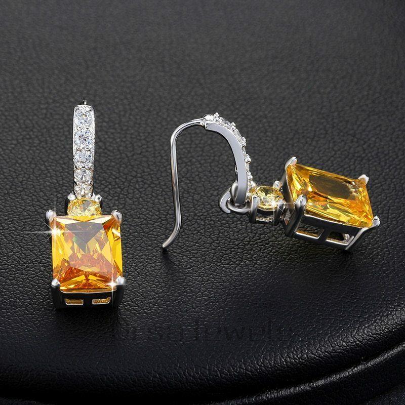 OrsaJewels® Luxury Zircon Ring Earring Set With 4 Carat Cut Yellow image 5