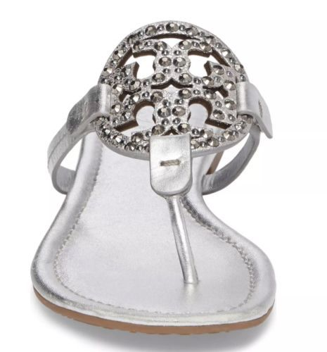 7be71272a 12. 12. Previous. NIB Tory Burch Miller Embellished Crystal Stud Leather  Sandal Silver ...