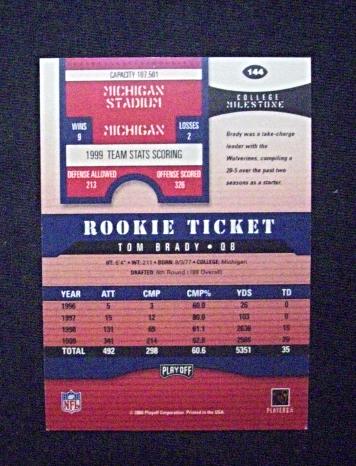 2000 Playoff Contenders Rookie Ticket Auto #144 Tom Brady [Patriots] RC_Repro
