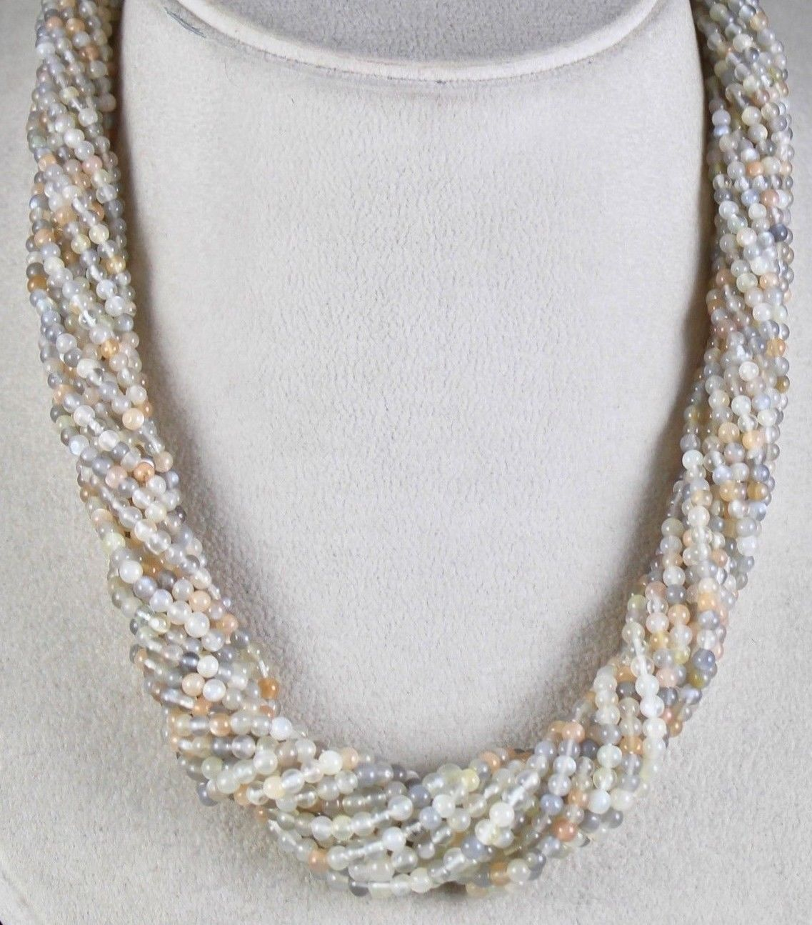 14 LINE 519 CTS NATURAL MOONSTONE ROUND GEMSTONE BEADS NECKLACE WITH SILVER HOOK