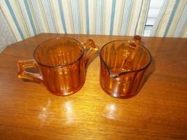 Cambridge Glass Amber Cream And Sugar - $24.75