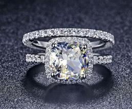 Cushion Cut CZ 14k White Gold Plated 925 Silver Women's Bridal Wedding Ring Set - $94.38