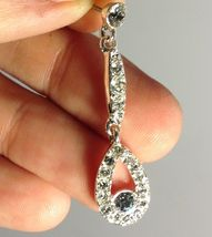 VTG 90s Clear Rhinestone Bridal/Occasion/Prom Drop Dangle Pierced Earrin... - $6.89