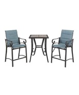 Outdoor Bistro Set with Padded Sling Balcony Height Blue 3 Pieces Stylis... - $137.99