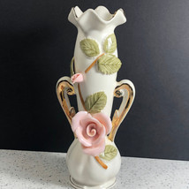 UCAGCO VASE JAPAN vintage porcelain pink rose flowers floral gold trim h... - $29.65