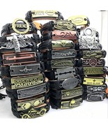 Wholesale Lots Bulk 50pcs genuine Cuff leather Bracelet Men Women unisex... - $70.67