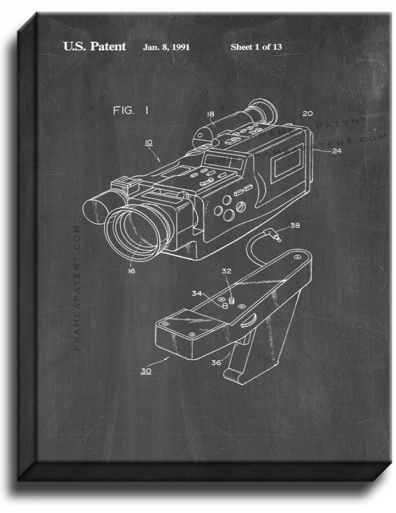 Primary image for Video Camera Patent Print Chalkboard on Canvas