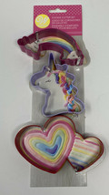 Wilton  3 Piece Magical Cookie Cutter Set Unicorn Rainbow Heart New Metal  - $6.93