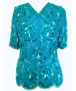 80s STENAY 100% Silk Bahamas Blue Green Turquoise Sequinned Beaded Scall... - $55.00