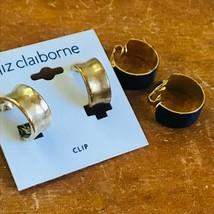 Estate Lot of 2 Navy Blue Enamel & Liz Claiborne Goldtone Hoop Clip Earrings – - $13.09