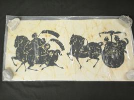 Asian Batik Fabric Art 16x32 Ancient Chinese Warriors on Horseback and C... - $24.74