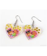 Kawaii Rabbit Glitter Heart Earrings, Cute Jewelry, Decora, Resin, Handmade - $14.00