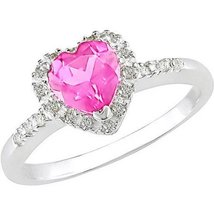Tangelo 7/8 Carat T.G.W. Pink Sapphire and Diam... - $70.00