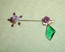 Upcycled Purple Flowers, Purple Rhinestones, and Green Gem Hat Pin Brooc... - $17.99