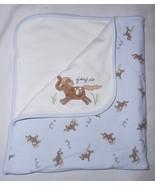 Gymboree E-I-E-I-O Giddy Up Baby Blanket 2006 Horse Pony Blue White EIEIO - $39.48