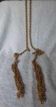 "Vintage 1960s 30"" Long Goldtone Chain Link Tie Belt or Self Necklace w/2... - $35.00"