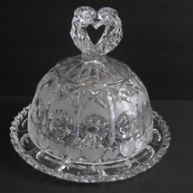 VINTAGE LEAD CRYSTAL COVERED CHEESE BUTTER DISH HEARTS WEST GERMANY WITH... - $39.59