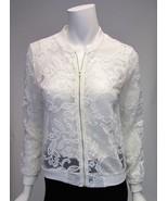 karlie Sheer White Embroidery Long Sleeve Zip Front Jacket Sz S NWOT - $27.03