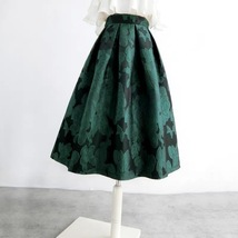 Women Dark Green Pleated Midi Skirt Outfit Pleated Party Skirt Plus Size image 2