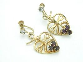Purple Rhinestone Gold Tone Art Nouveau Style Heart Dangle Screw Back Ea... - $29.69