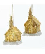 KURT ADLER SET OF 2 GOLD & SILVER GLITTER LED CHURCH CHRISTMAS ORNAMENTS - $15.88