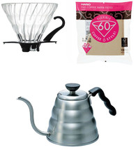 Hario V60 - 1.2 Liter Kettle, Glass Dripper, Spoon & 100 Filters - $69.29