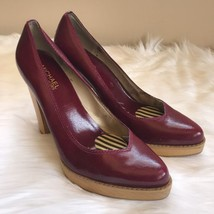 MICHAEL KORS Patent Leather Pumps with Wood Platform Heel Burgundy Size 8.5 - $13.09