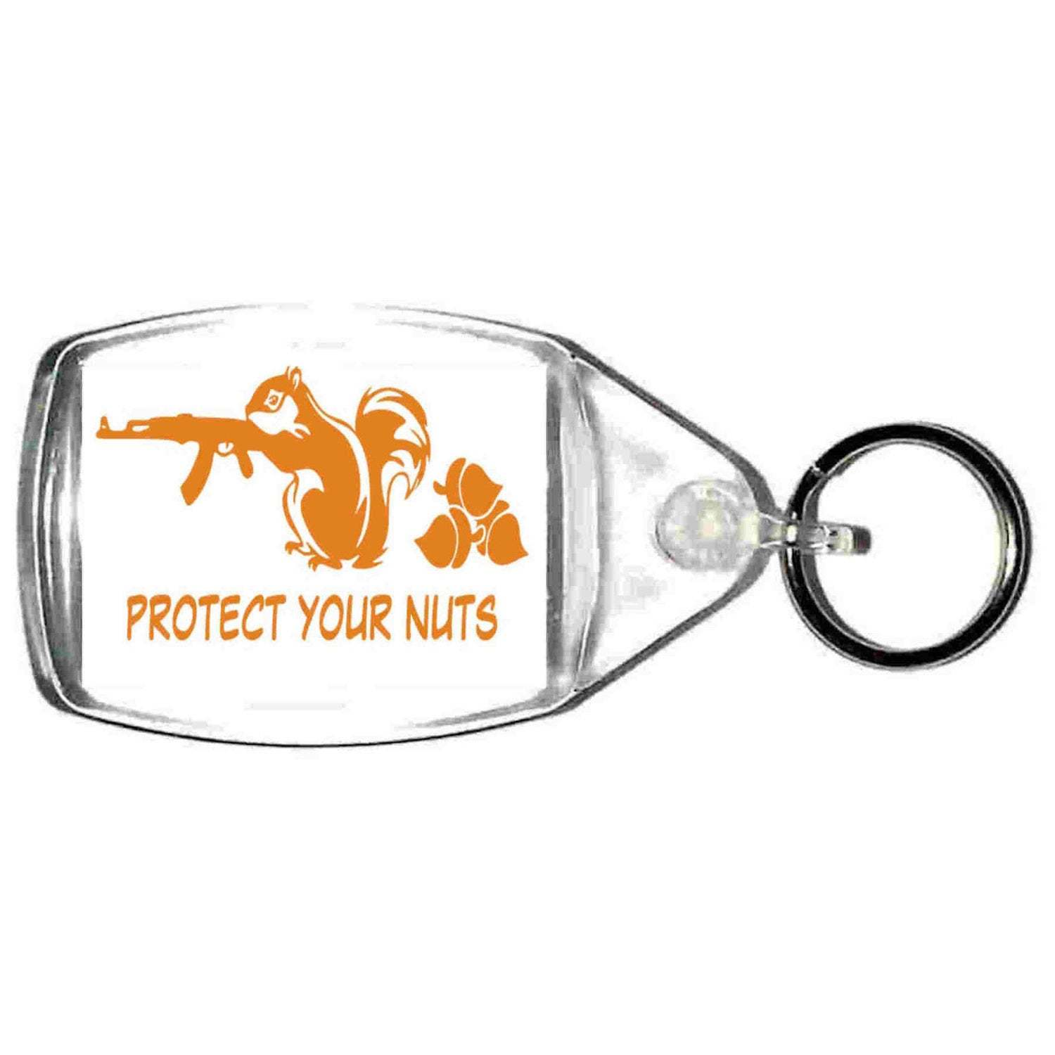 keyring double sided protect your nuts fun, novelty, keychain
