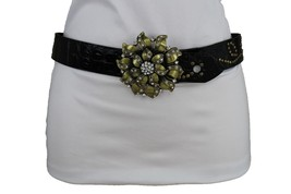 Women Fashion Faux Leather Brown Belt Antique Gold Metal Flower Bling Buckle M  - $16.65