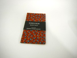 NORDSTROM MENS SHOP PRE-FOLDED PERFECT POCKET SQUARE RED W/ BLUE FLOWER - $7.99