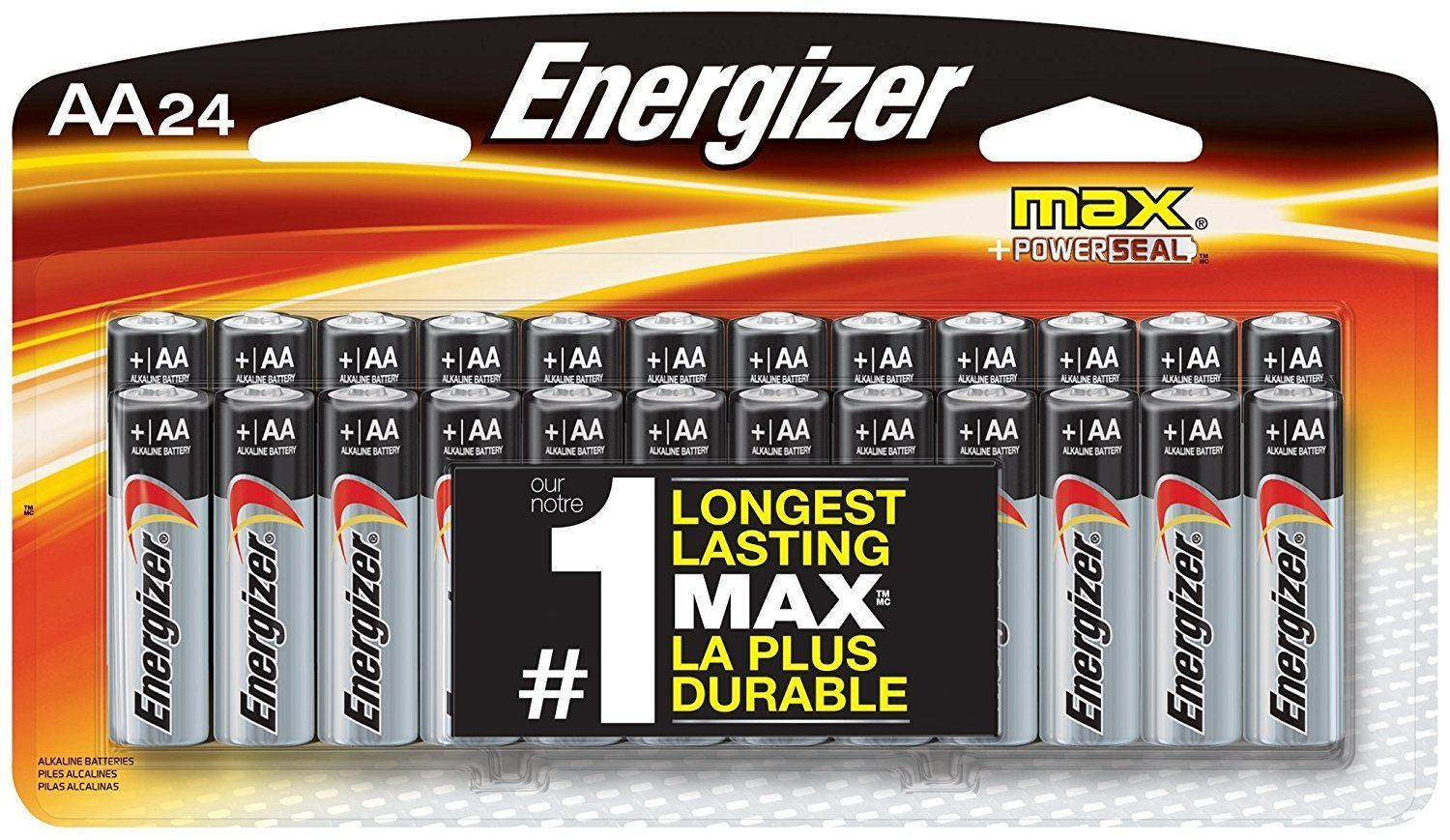 Energizer Max Premium AA Batteries, Alkaline Double A Battery 24 Count E91BP-24 for sale  USA