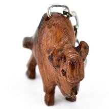 Hand Carved Ironwood Wood Folk Art 3D Buffalo Country Western Theme Keychain image 2