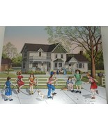 Rare Origin Painting C. Carson Children at play American realism Signed ... - $122.49