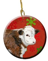 Caroline's Treasures Baby Calf Red Snowflakes Holiday Christmas Ceramic ... - $22.92