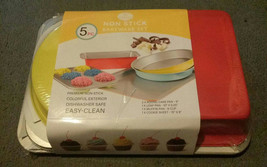 New Non-Stick 5-Piece Bakeware Set Muffins Loaf Breads Cakes Pans Cookie... - $14.70