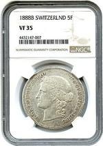 Suiza: 1888-B 5 Francos NGC VF35 ( km#34 ) Raro Suizo Issue - $1,416.12