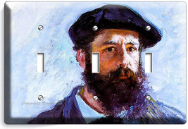Claude Monet Self Portrait Painting 3 Gang Lightswitch Wall Plate Room Art Decor - $16.19