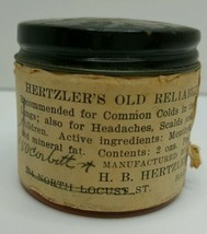 RARE Hagerstown MD HERTZLERS OLD RELIABLE OINTMENT Mennonite med Jar ca1... - $45.74