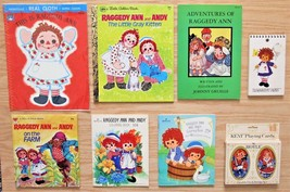 Raggedy Ann & Andy Books, Coloring Books, Cards, Notepad Lot of 8 Items - $34.88
