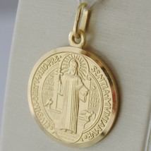 SOLID 18K YELLOW GOLD ST SAINT BENEDICT PROTECTION MEDAL CROSS, MADE IN ITALY  image 2