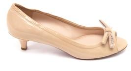 PRADA SPORT Patent Leather Nude Bow Peep Toe Pump Silver Kitten Heel Sz 37 image 2