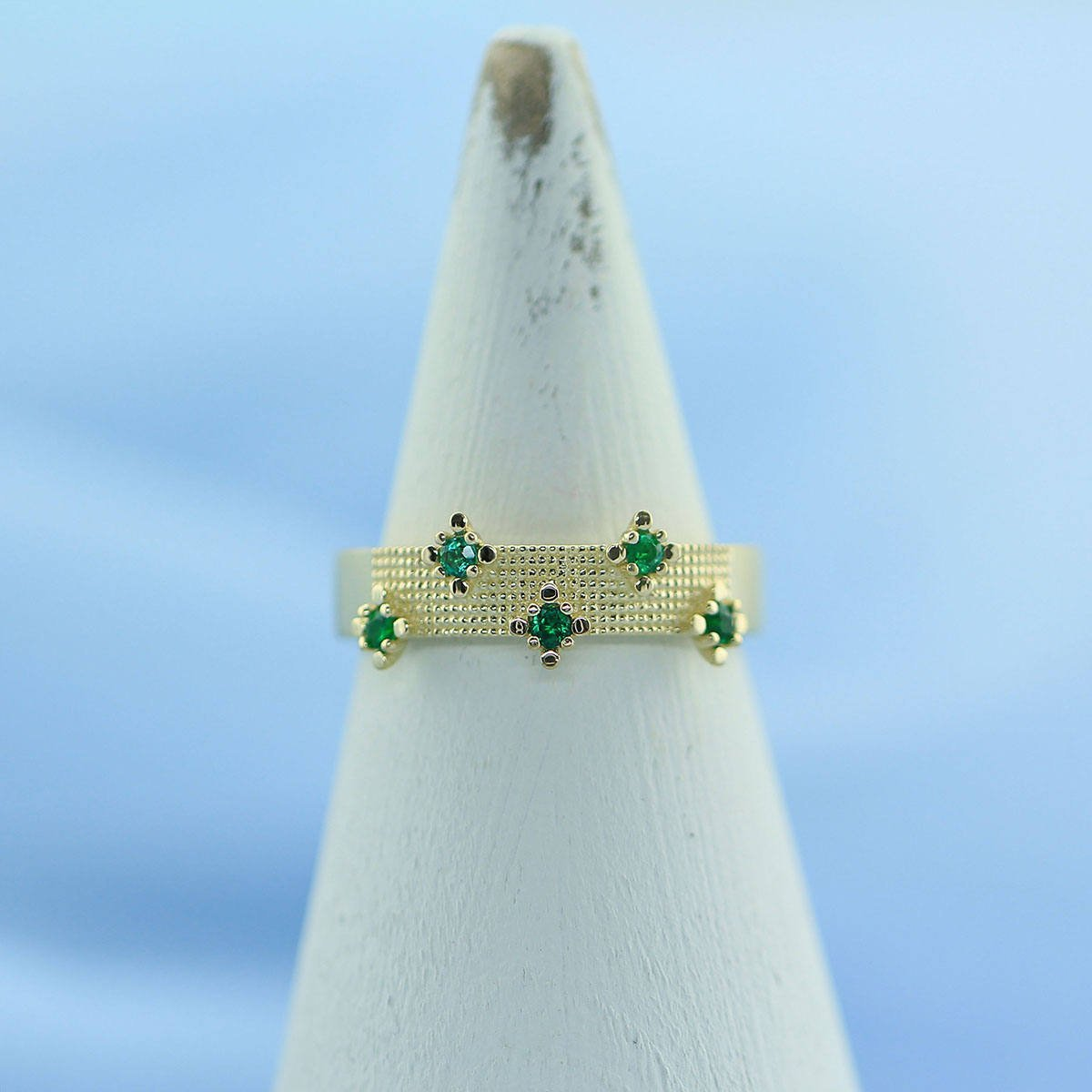 925 Sterling Silver Natural Fine Quality Emerald Gemstone Gold Plated Handcrafte image 3