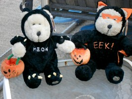 2 Starbucks HALLOWEEN Plush Bearista Bears Eek and Meow Bat and Cat 2002... - $68.00