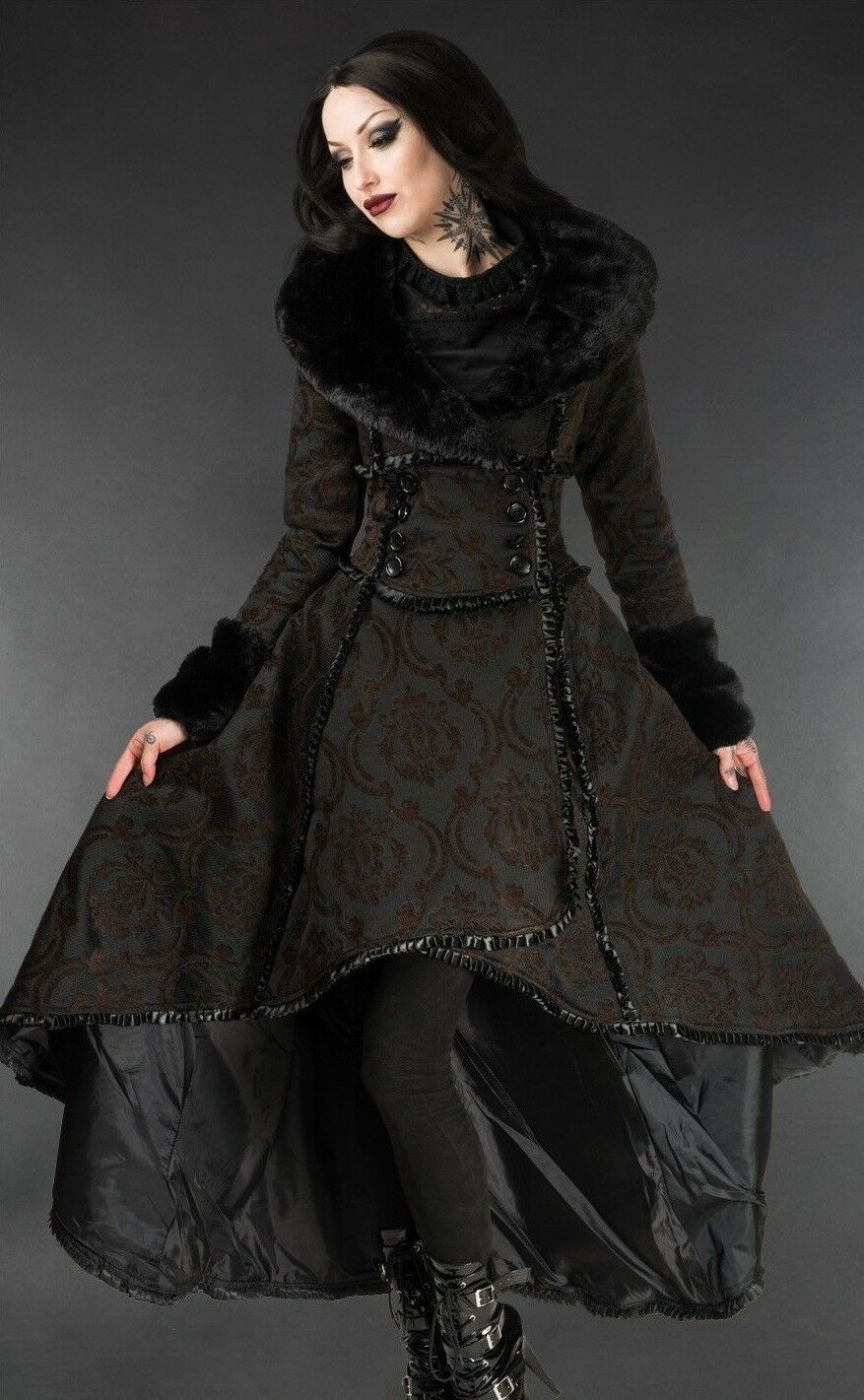 Primary image for Brown Evil Queen Brocade Goth Victorian Long Winter Corset-Back Steampunk Coat