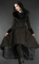Brown Evil Queen Brocade Goth Victorian Long Winter Corset-Back Steampun... - $169.83