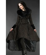 Brown Evil Queen Brocade Goth Victorian Long Winter Corset-Back Steampun... - $169.83
