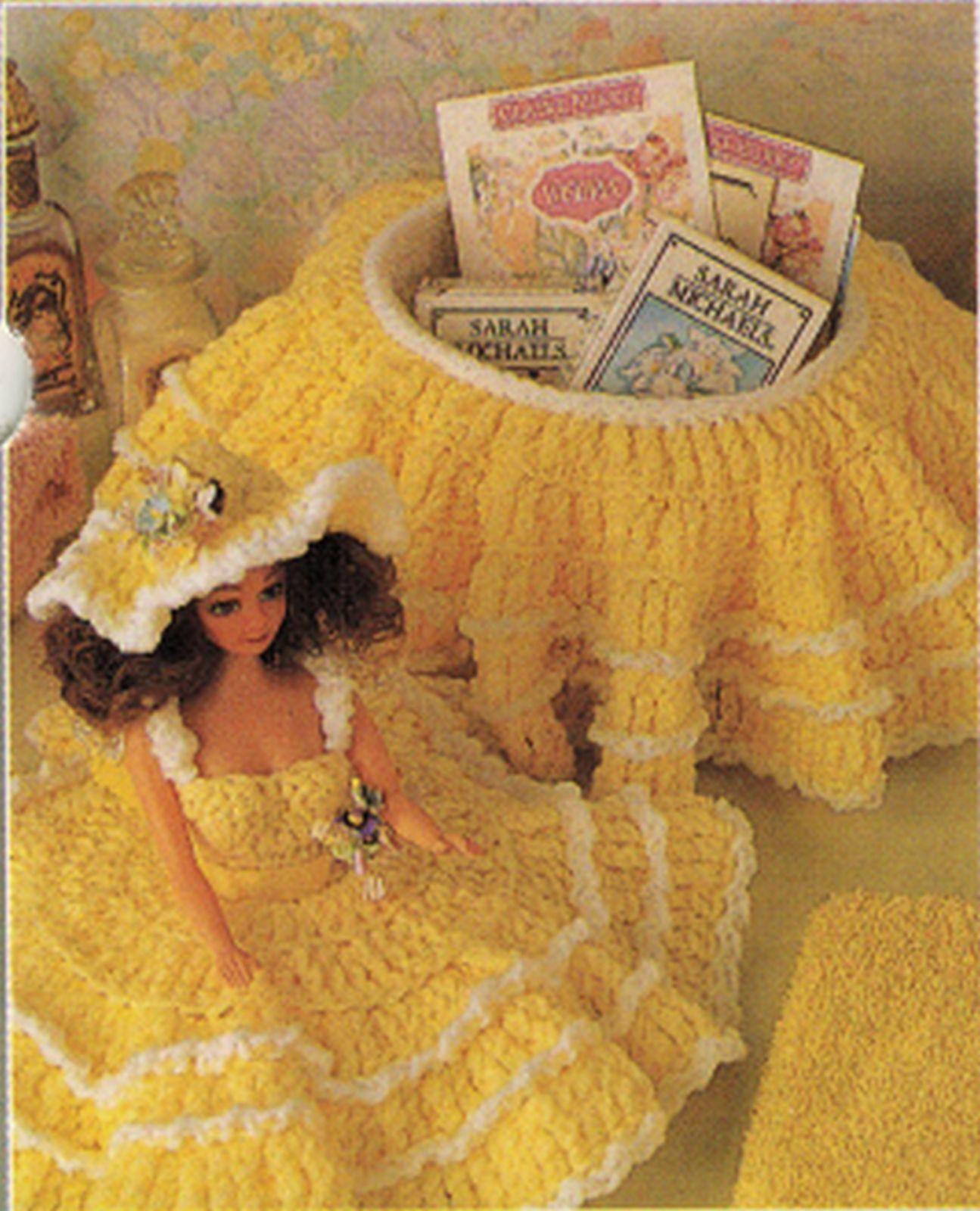 "3X Barbie 11-1/2"" Doll Angel Frills & Ruffles & Bows Trinket Box Crochet Pattern image 2"