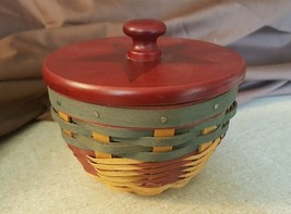 Longaberger 2008 All American BOWL BASKET With Plastic Protector & Wood Lid - $48.00