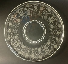 "Heisey Clear Crystal Platter Sandwich Plate Round Tray Floral Etched Glass 14.5"" - $29.95"