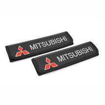Mitsibishi seat belt covers Leather shoulder pads Accessories with emblem - $35.00